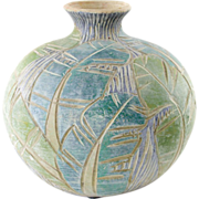 Green Art Pottery Vase - Incised Leaf Design