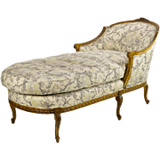 Vintage French Chaise Longue/Chaise Lounge-Toile with Down Cushion