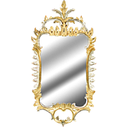 Gilt Silver and Gold Carved Wood Mirror-Rococo Style