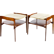 Mid-Century Modern Side Tables, Walnut & Travertine by Bertha Schaefer, a Pair