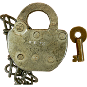 PC RR, Penn Central Steel Adlake Lock, Brass Yale Replacement Key