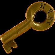 SOLD HV, Hocking Valley Railway Brass Tapered Bohannan Key