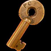 Pacific Coast Railroad PC RR Brass, Adlake Key
