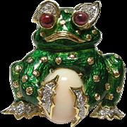 18k Diamond and Coral Green Enamel Frog Pin