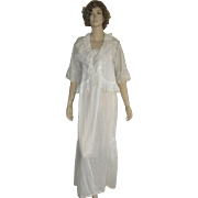 Vintage 1970's Christian Dior White Pin-tuck Nightgown w Matching Bed Jacket Sz Medium