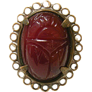 Vintage Victorian Carved Carnelian in Brass Ring Sz 5 1/4