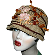 AUTHENTIC 1920's FLAPPER CLOCHE Hat w/ Chenille Flowers & Celluloid Trim