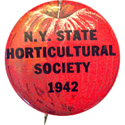 New York State Horticultural Society 1942 apple image pin-back button