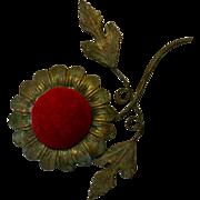 SALE Brass flower shaped pincushion