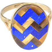SALE 14K gold ring with lapis and tigers eye