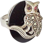 SALE Sterling silver, marcasite, and onyx cat ring