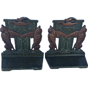 SALE Art Deco Egyptian Revival Judd cast iron bookends