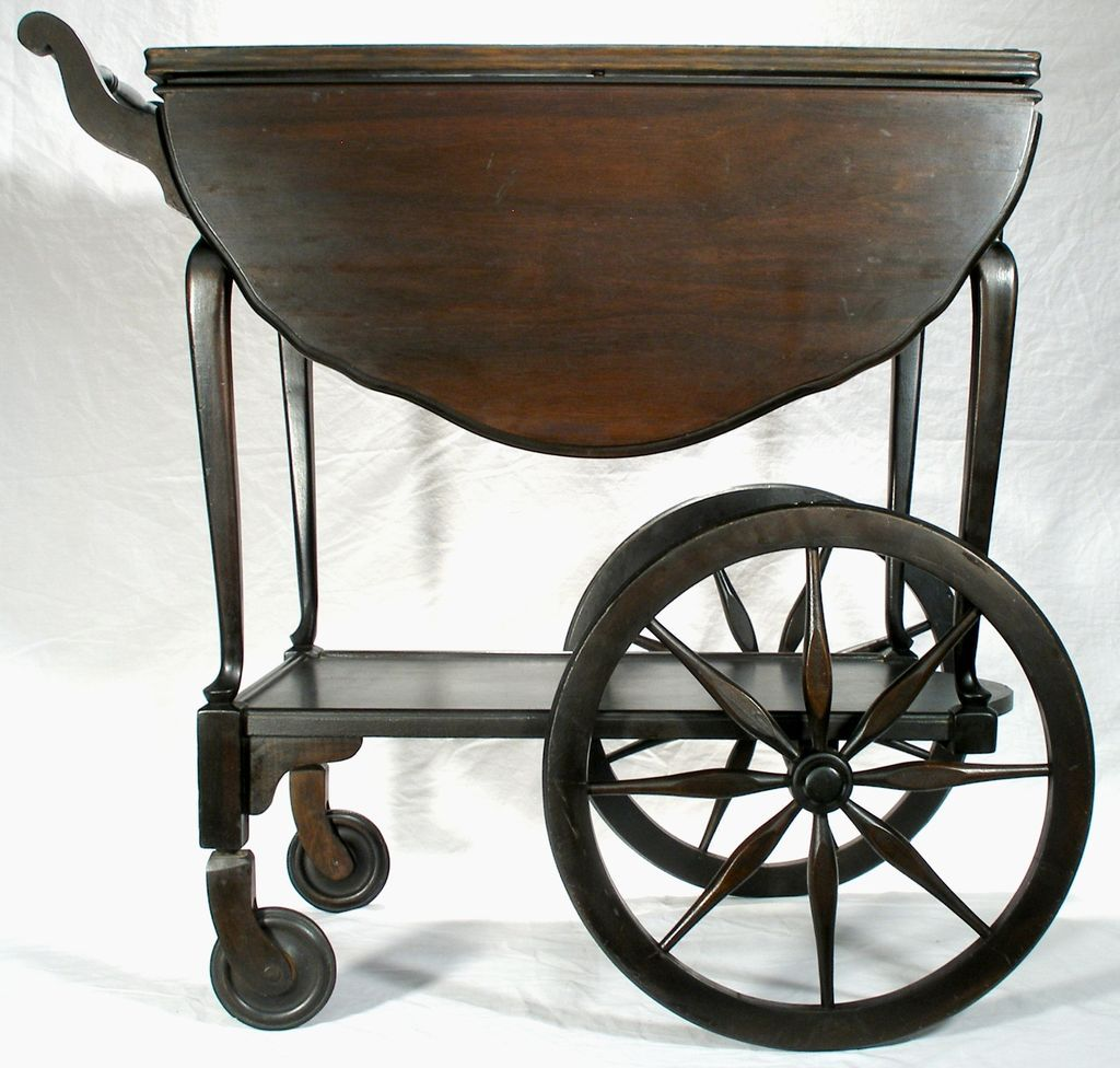 Vintage Mahogany Wagon Wheel Drop Leaf Tea Serving Cart