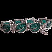 1937 KTF Trifari Bracelet Invisible Set Emerald Glass & Clear Rhinestone Figural Leaf Flower .