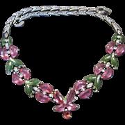 SALE 1942 Trifari Rhinestone Enamel Demi Lune Flower Necklace Philippe VERY RARE Figural
