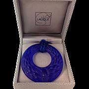 """SALE Lalique """"Epis de Bles"""" Blue Crystal Pendant, Lalique France"""
