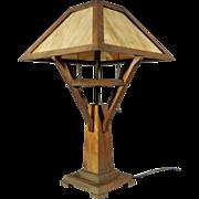 SALE Vintage Oak Mission Table Lamp