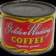 Vintage Unopened Can of  Golden Wedding Coffee