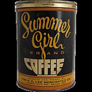 Vintage Summer Girl Coffee Tin