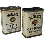 SOLD Chili Powder & Cloves Monarch Spice Containers
