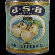 Vintage J.S.B. White Cherries Tin Can
