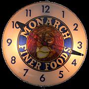 "Vintage"" Monarch Finer Foods"" Lighted Advertising Clock"