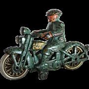 "Hubley ""Harley Davidson"" Motorcycle With Civilian Driver"