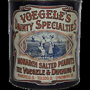 Vintage Voegele's Dainty Specialties Salted Peanuts Tin