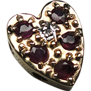 SALE Estate 14k R. Klein Ruby & Diamond Heart Bracelet Slide!