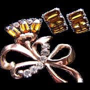 SALE Sterling Vermeil Demi - Large Brooch & Earrings Unsigned Mazer!