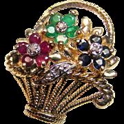 SOLD 14K Yellow Gold Multi Gemstone Flower Basket Pin