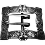 Sterling Silver Ornate Art Nouveau Design Belt Buckle by Unger