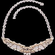 Trifari 1948 Fruit Salad Moonstone Molded Glass Leaves Pave Rhinestone Gold Tone Necklace ...