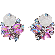 Trifari Fruit Salad Shoebutton White Molded Glass Cabochon Pink Blue AB Navette Pave Rhineston