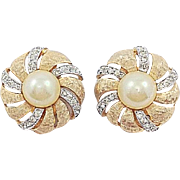 Jomaz Pearl (Faux) Pave Rhinestone Brushed Gold Tone Dome Earrings
