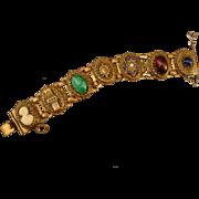 Beautiful Vintage Brass Cameo Slide Bracelet