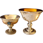 Vintage Bohemian and English Mercury Glass Compote's