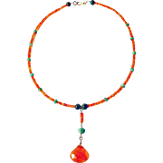 Carnelian, Peruvian Opals and Gold Necklace By Estrella