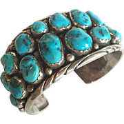 Signed Vintage NAVAJO SterlingSilver TURQUOISE Cluster Cuff BRACELET Mary Morgan