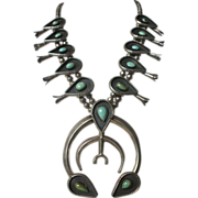 SQUASH BLOSSOM Necklace: Huge and Heavy Gauge Vintage NAVAJO Sterling Silver & Turquoise with