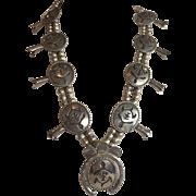 Vintage NAVAJO Sterling Silver SQUASH BLOSSOM Necklace, Turtle Fetish Design