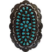 Museum Quality Vintage NAVAJO Sterling Silver & Petit Point Cluster TURQUOISE Cuff BRACELET