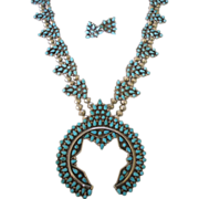 Old 1940s Petit Point SQUASH Blossom Necklace & Earrings SET Turquoise