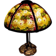 "SALE Reverse Painted 6 Panel Pairpoint Lamp W/ Chrysanthemums Ca 1920's 18"" Shade Signed"