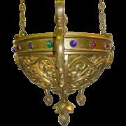 SALE Tiffany Studios NY Cathedral Brass Jeweled Lamp w/Fleur-De-Lis