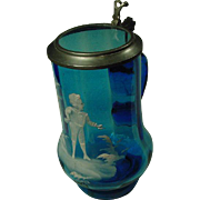 """Ladies Saphire Blue Glass Mary Gregory Paneled  Lidded  7"""" Stein ~ RARE"""