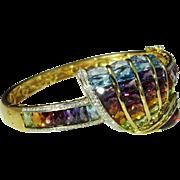 SALE Rainbow Bracelet Cuff Bangle 18K Gold Custom Unique Lavish Retro Multistone Multigem Sea