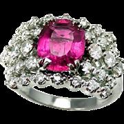 SALE Pink Tourmaline Engagement Ring Pink Tourmaline Ring 18K Gold Ring Diamond Engagement Rin