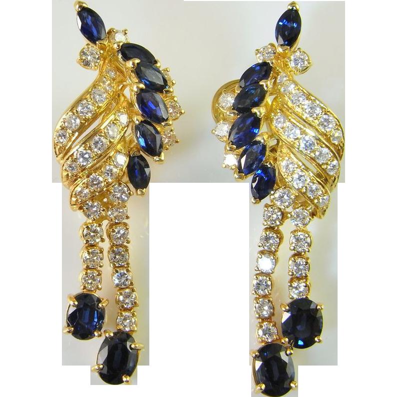 Opulent 1950s Diamond Sapphire 1K Yellow Gold Drop Earrings from thegen