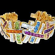 SALE 14K Diamond Cuff Bangle Bracelet Multigem Natural Gem Vivid Gem Rainbow Bracelet Citrine,